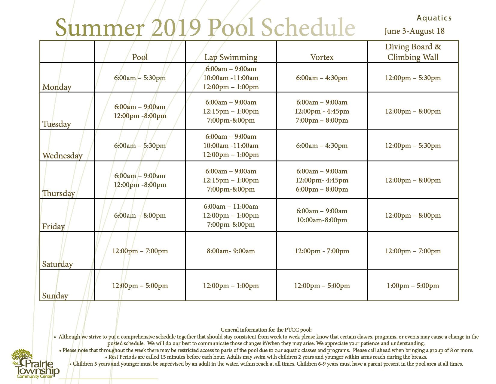 Winter Pool Sched