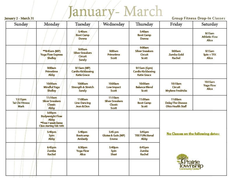 January - March 2020 Group Fit Schedule (1)